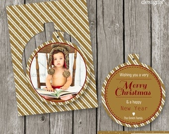 Luxe Christmas Card - Pop Out Card for Photographers - Gold Ornament Christmas Card - CC10