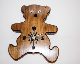 Handcrafted Teddy Bear Wall Clock with SEIKO Movement,one-of-a kind