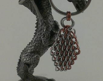 Copper & Plain Aluminum  Dragonscale Chain maille Keychain