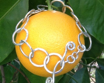 Silver Circles Bracelet, Forged and Hammered, Spiral Toggle, Fine Silver,  Handmade  By LisaJStudioJeweler.