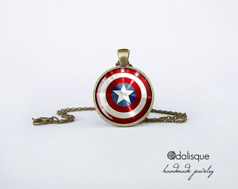 Captain America Pendant Shield Bronze Necklace gift present jewelry birthday for him for her round circle Superhero necklace