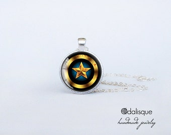 Handmade Captain America Pendant Black Shield Silver Pendant gift present jewelry birthday for him for her round circle Superhero necklace