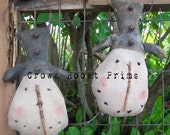 Primitive 1 Christmas Snow Pal doll Ornament ornies sticks jingle bells-enter Coupon code 20CYBER for 20perc. off