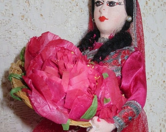 Doll from India in National Costume, on Stand -- Kashmiri Girl--Vintage Collectible