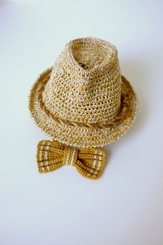 0f78e0eec51 Fedora Hat And Bow Tie Set Crochet For Baby Toddler Boys Newborn