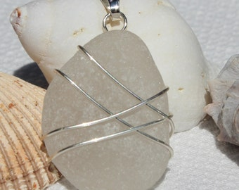 Frosted White Genuine Beach Glass Sea Glass Wire Wrapped Pendant
