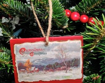 Vintage Christmas Postcard Ornament #024
