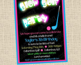 Glow in the dark miniature golf birthday party printable invitations UPrint customized card by greenmelonstudios