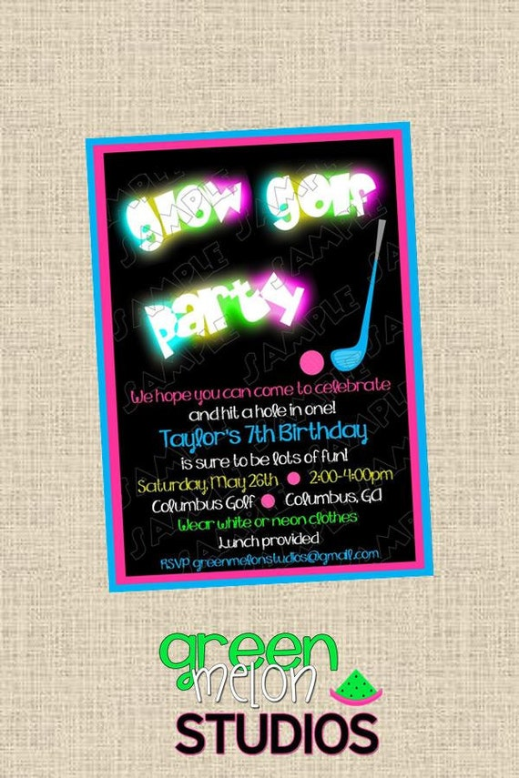 Glow in the dark miniature golf birthday party printable ...