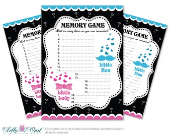Lady Man Blue Pink Memory Game for Gender Reveal Printable Card for Baby Blue Pink   DIY bow beau he she- ONLY digital file - aa3bs16