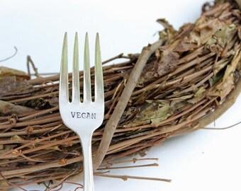 vegan fork, hand stamped vegan fork, gift for vegan, eat green, birthday gift, christmas gift, vegetarian, vegan,