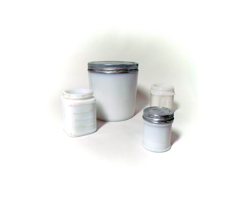 4 antique milk glass bottles jars some with original lids. Black Bedroom Furniture Sets. Home Design Ideas