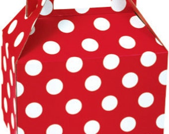 10 Red & White Polka Dot Gable Favor Boxes 8 x 4-7/8 x 5-1/4