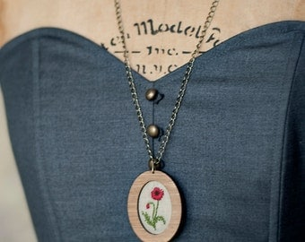 Embroidered Necklace -- Red poppy