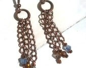 Copper and Crystal Tassle Earrings/ Copper Tassle Earrings/ Tasse Earrings/ Crystal Earrings/