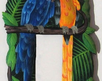 Macaw Parrot Rocker Switch Plate, Painted Metal Light Switchplate, Tropical Decor, Switchplate Covers, Light Switch Cover - SR-1108-1