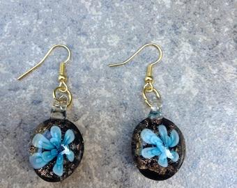 Blue Flower Glass Pendant Earrings