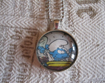 """Old Papers - """"Smurf"""" glass cabochon necklace - upcycled gift idea"""