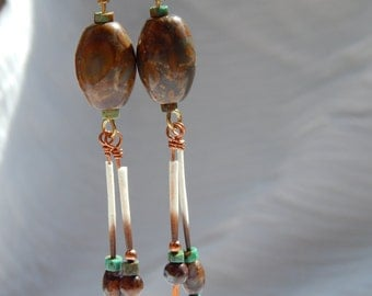 Chrysanthemum Stone Dangle Earrings with Turquoise, Porcupine Quills, and Hammered Copper