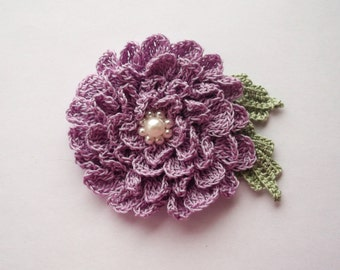 lilac brooch, lilac crochet brooch, flower brooch, handmade crochet brooch, pin,accessory,corsage, wedding accessories, mother of the bride.