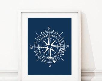 Compass Art - Compass Print - Nautical Decor - Nautical Nursery - Nursery Art - Nautical Bedroom Art, Nautical bathroom - Canvas (S-380)