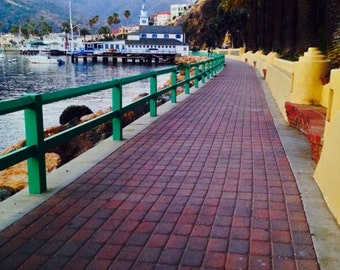 Walkway in Avalon on Catalina Island. Adventure travel art.