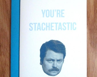 Ron Swanson Valentine Parks And Rec Card / Youu0027re Statchetastic / Mustache,  Birthday
