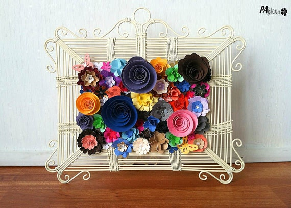 Paper Flower Collage Art with Metal Frame Handmade Gift Decoration Table  Art  Paper Flower Collage. How To Decorate A Room With Handmade Things