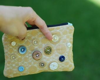 Yellow Button Clutch Small coin purse