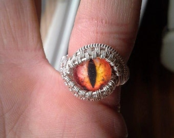 Eyeball ring in sterling silver size 6.5