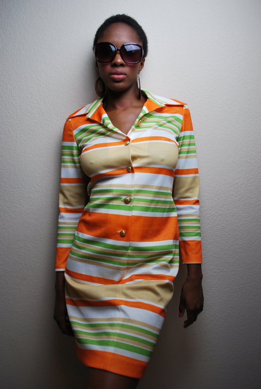 Vintage Mod 1970s Striped Dress