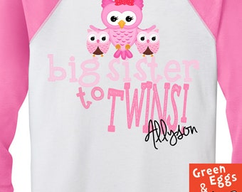 Popular items for big sister to twins on etsy for Big sister birth announcement shirts