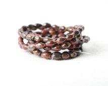 Red Poppy Jasper Beads Rice Shape Beads 5mm Fall Ox Blood natural jasper beads 7.5 inch strand Brown Red Maroon natural undyed jasper beads