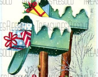 Retro Present Filled Mailbox Christmas Card #340 Digital Download