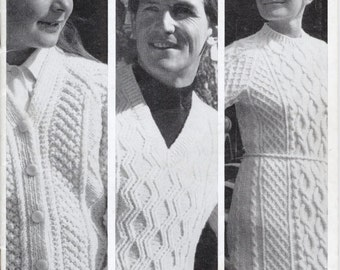1960's Original Vintage Knitting Pattern - Sirdar 9925 - Family Aran Hand Knits - Hat, Sweater Dress, Jumpers, Cardigans, Slippers