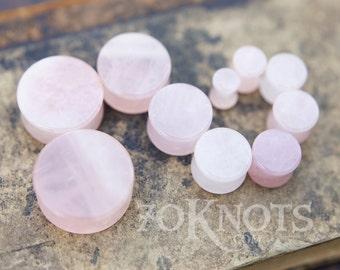 Rose Quartz Stone Plugs - Double Flared - 1 Pair - 6mm - 8mm - 10mm - 11mm - 12.7mm - 14mm - 16mm - 19mm - 22mm - 25mm - Organic