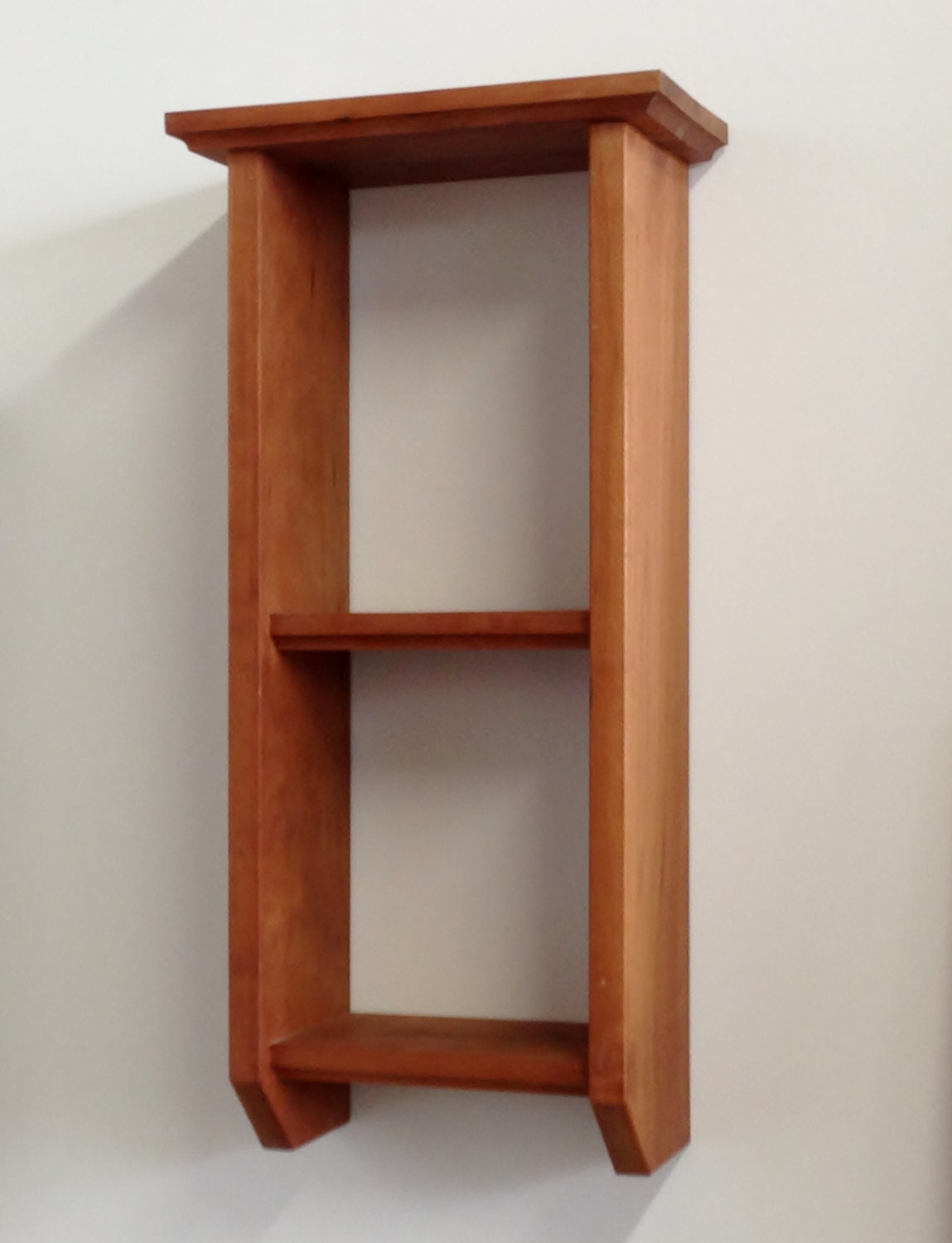 Narrow Wall Shelf Curio Display Solid Wood In Cherry And