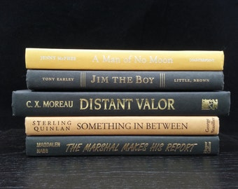 Yellow and Black Decorative Book Collection, Home Decor, Vintage Books for Interior Design, Book Art