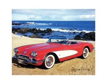 "1960 Red Corvette Vintage Classic Car Poster Print (16""x20"") print alone or framed in 1"" black wood frame"
