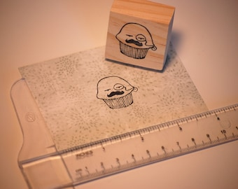 Hand carved rubber stamp - funny English muffin.