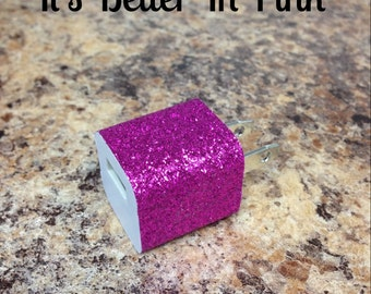 Hot Pink Glitter USB Wall Charger