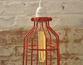 Metal Bulb Guard Apple Red Color Attack Cage Pendant Light Lamp Industrial Vintage Modern