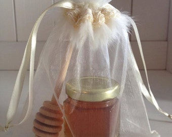 50 Qty Mini Honey Jars Favors  with 4'' honey dipper and Organza Bag