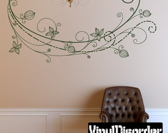 Floral Vine Wall Decal - Wall Fabric - Vinyl Decal - Removable and Reusable - FloralVineUScolor012ET