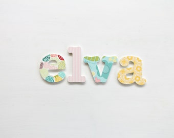 Fabric covered letters for girls room - 'The Elva'