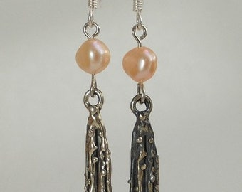 Pink pearl sterling silver earing