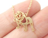 Bulldog Puppy Dog Shaped Animal Charm Necklace in Gold | Handmade Animal Jewelry