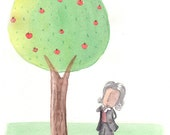 Isaac Newton: What goes up must come down. Nursery science art - gravity, apple, tree, bird. A4 giclee print, signed