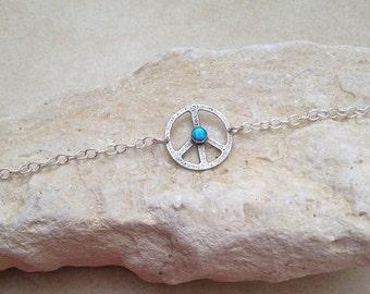 Peace bracelet , sterling silver , Textured Silver , Handmade peace bracelet , Peace sign , Opal stone , Charm Bracelet , symbolic bracelet