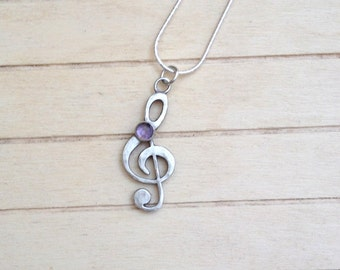 Sol Key pendant, Music necklace, Sterling silver Sol Key, Amethyst stone necklace, music lovers gift